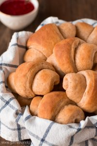 Make half your grains whole grain and enjoy your next meal with a side of the fluffiest HONEY WHEAT DINNER ROLLS.