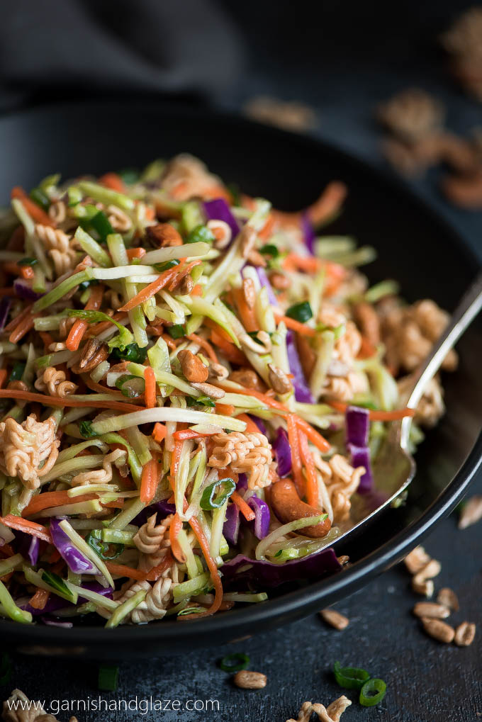 Crunchy Asian Broccoli Slaw - Garnish & Glaze