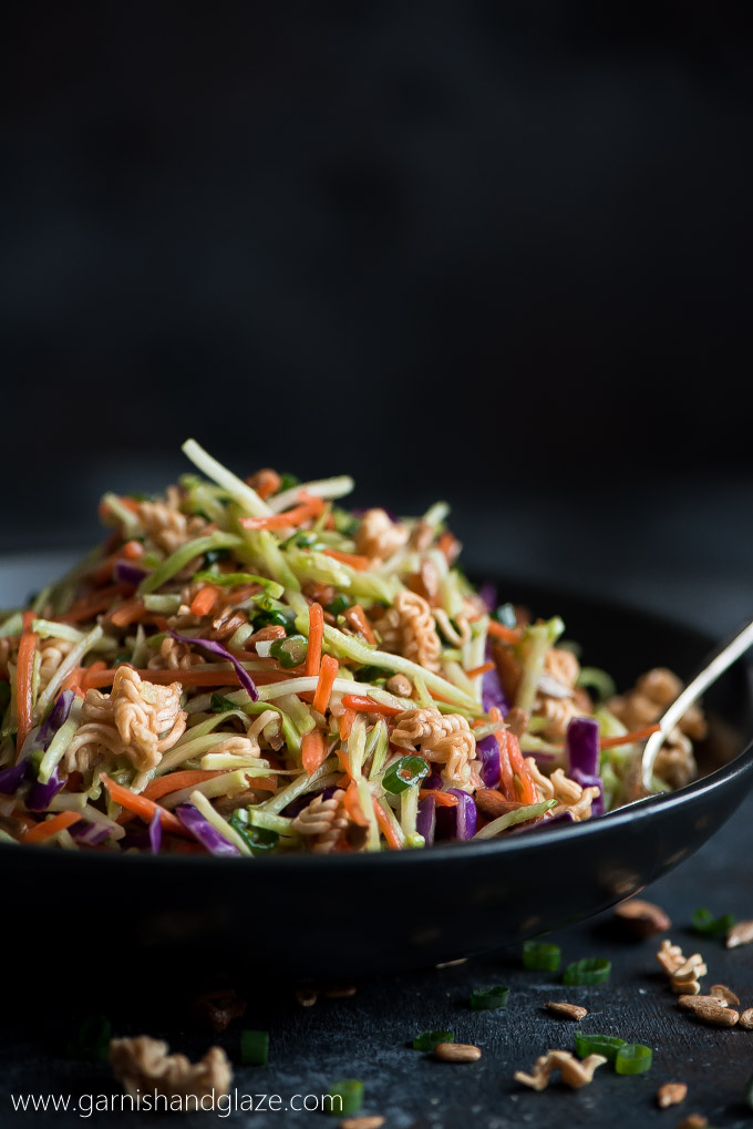 Crunchy Asian Broccoli Slaw salad piled high in a bowl.