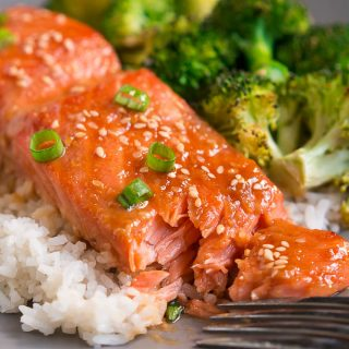 One Pan Sesame Ginger Salmon and Broccoli