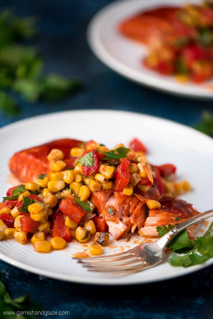 Baked Salmon with Corn & Red Pepper Relish is a veggie filled, flavor packed meal that is easy to throw together for the family or a dinner party.