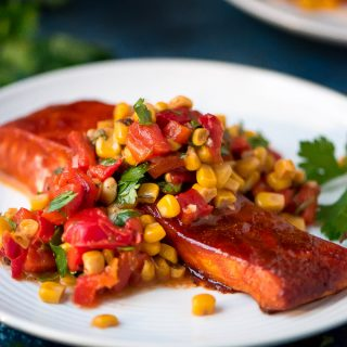 Baked Salmon with Corn & Red Pepper Relish