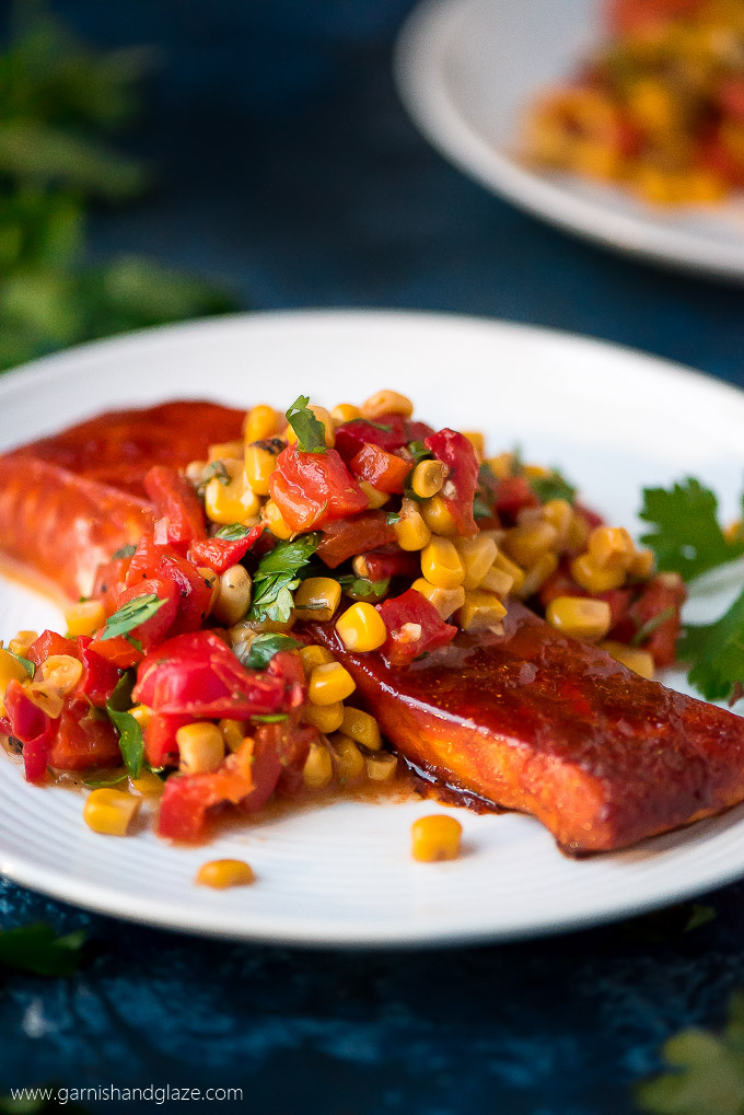 MONDAY | Baked Salmon with Corn & Red Pepper Relish