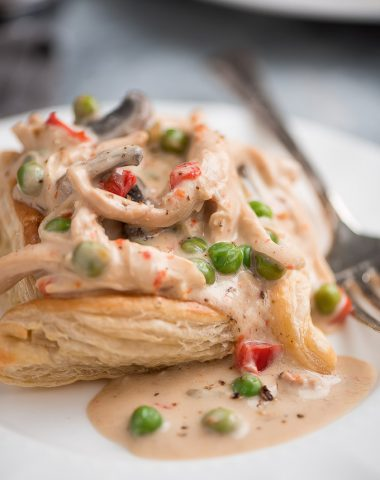 Slow Cooker Chicken a la King Puff Pastry is a creamy and comforting classic dish made simple but still pretty enough to serve to dinner guests.