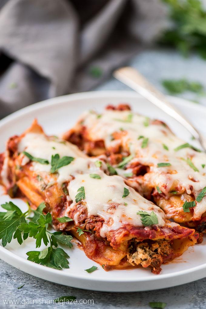 Easy Beef, Spinach, and Cheese Manicotti - Garnish & Glaze