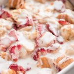 Use up your french bread in this scrumptious STRAWBERRIES AND CREAM BREAD PUDDING topped with the most delicious creamy glaze.
