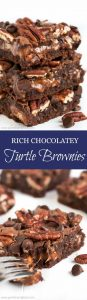 Rich chocolatey brownies filled with sweet gooey caramel and crunchy pecans... these delicious Turtle Brownies are going to blow your mind!