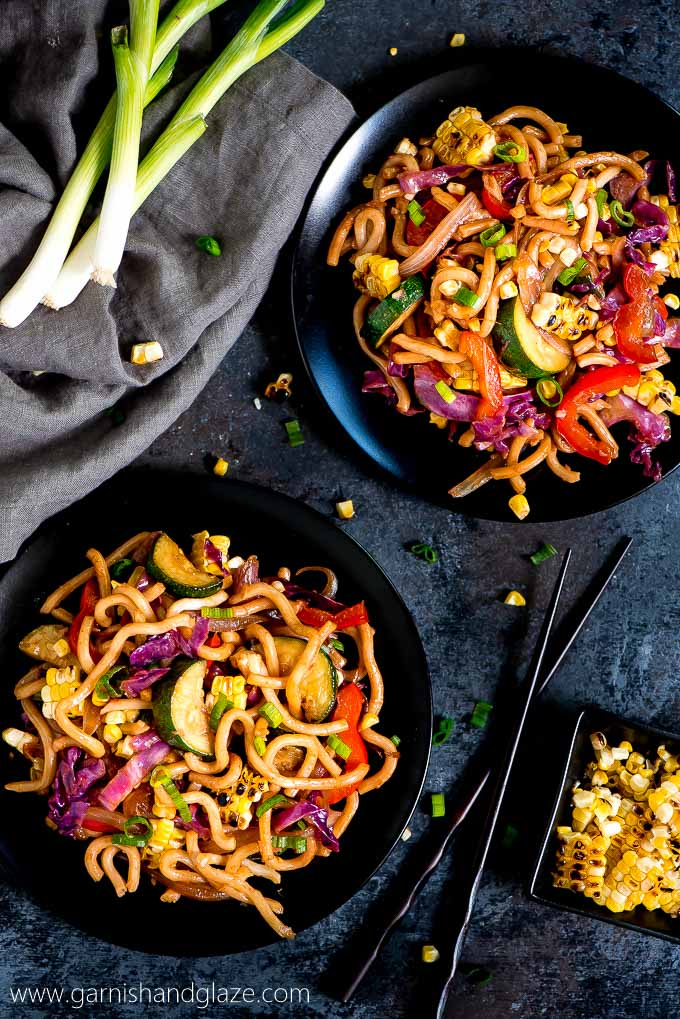 Enjoy a meatless meal tonight with this Japanese Udon Noodle Vegetable Stir Fry that takes less than 30 minutes to throw together.