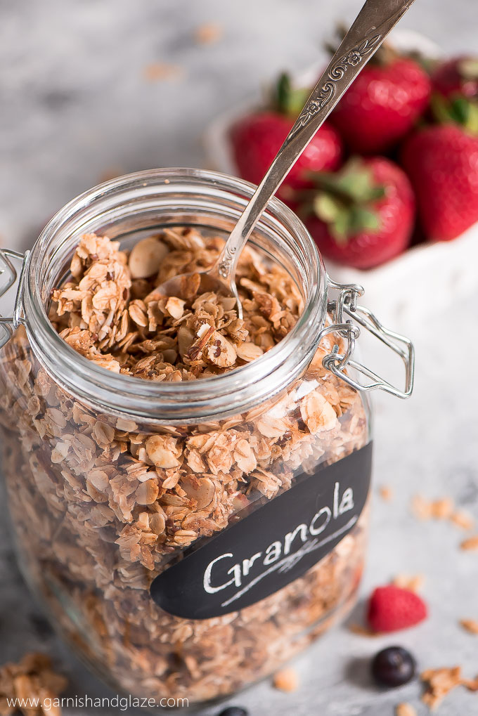Toss this simple to make Homemade Granola on everything from yogurt to smoothies for a filling and healthy snack or breakfast.
