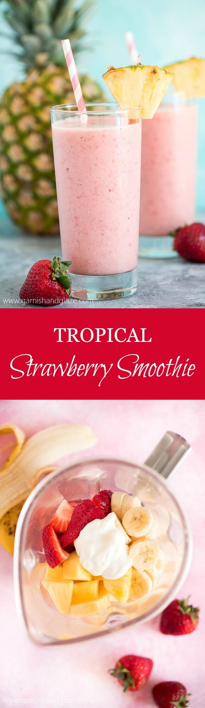 Beat the summer heat with a yummy, refreshing, and healthy Tropical Strawberry Smoothie. No need to go to Hawaii when you've got this in hand.