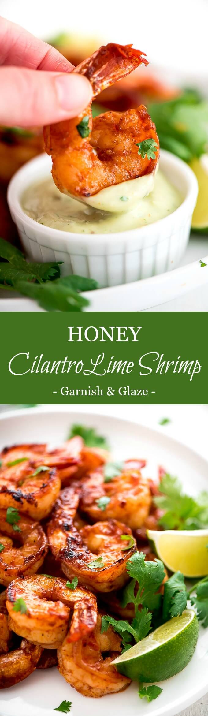There's no better way to enjoy shrimp than with a bit of heat and sweet in this Honey Cilantro Lime Shrimp with a cool and refreshing Avocado Dip.