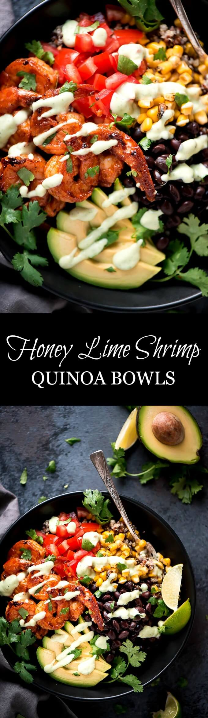 Feed your family a quick and healthy meal with these Honey Lime Shrimp Quinoa Bowls topped with Avocado Dressing. Shrimp never tasted so good!