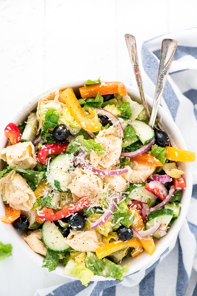 Take your pasta salad to the next level with this super easy, veggie filled Italian Tortellini Pasta Salad! You'll be going back for seconds for sure.