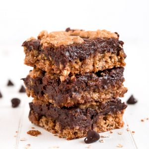 Oatmeal Chocolate Fudge Chewies are an amazingly delicious chocolate cookie bar that is easy to make and perfect for feeding a crowd.
