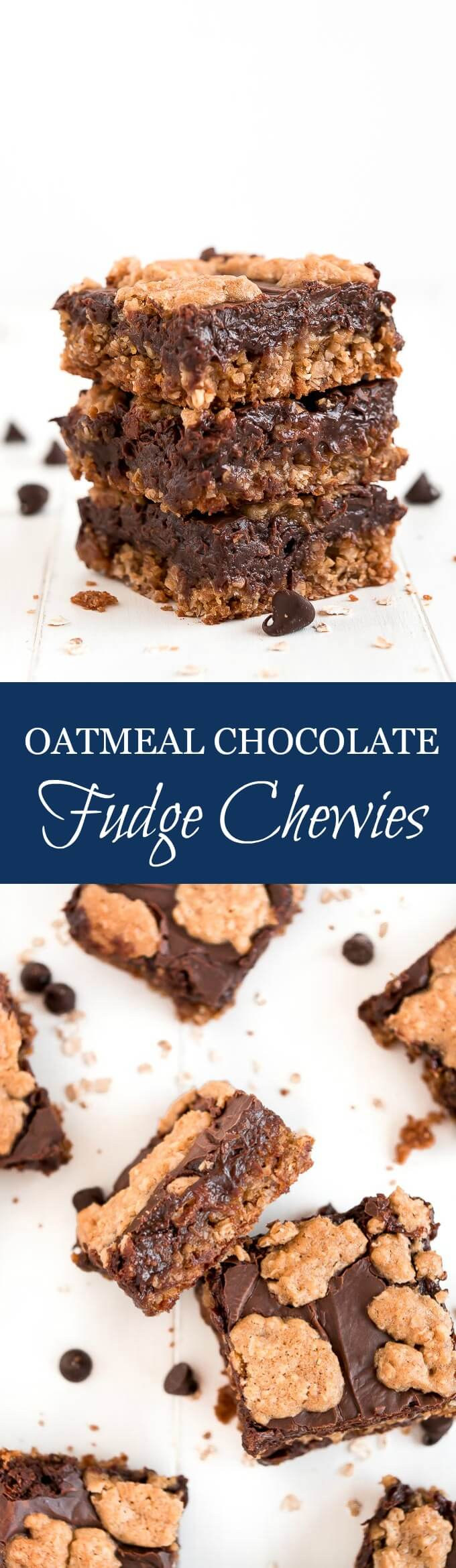Oatmeal Chocolate Fudge Chewies are amazingly delicious chocolate cookie bars that are easy to make and perfect for feeding a crowd.