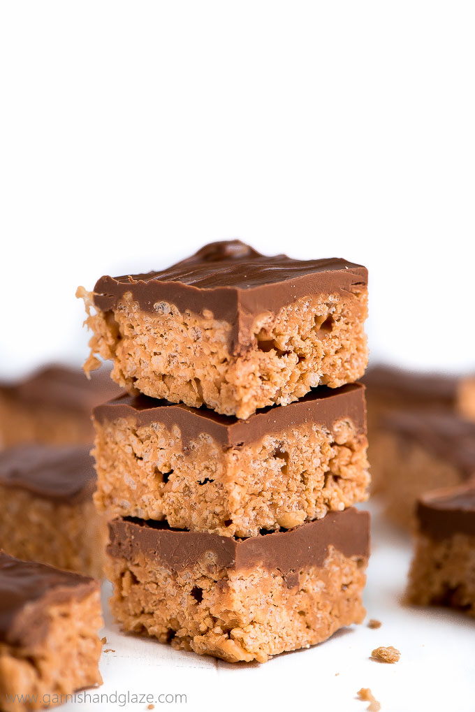 These soft and chewy Scotcheroos are an addictive, six-ingredient, peanut butter no-bake treat that comes together in just ten minutes.