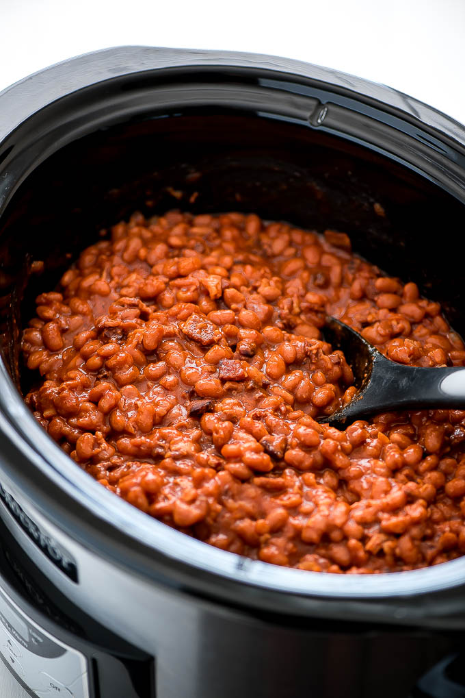 Slow Cooker Baked Beans with Bacon - Garnish & Glaze