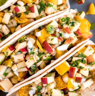 Chicken Cabbage Potato Tacos with Apple Pico de Gallo