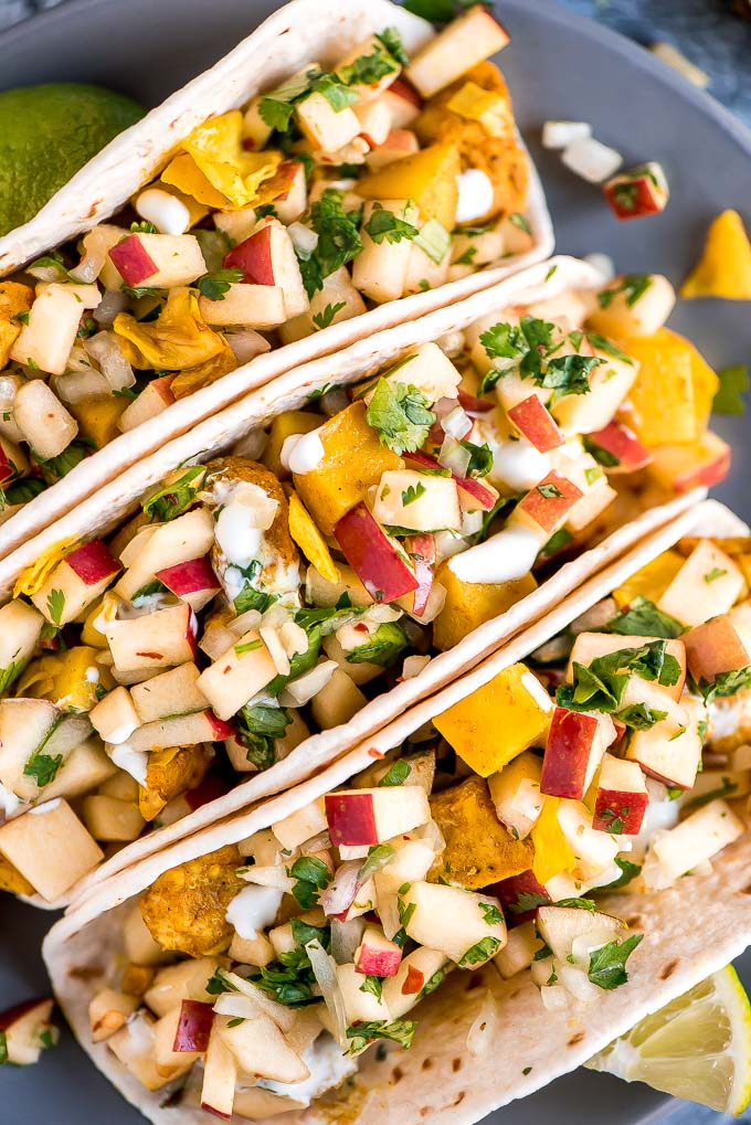 Chicken Cabbage Potato Tacos with Apple Pico de Gallo is a simple and healthy dinner packed with flavor and texture that the whole family will love.