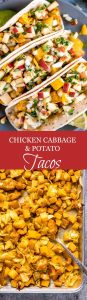 Chicken Cabbage Potato Tacos with Apple Slaw is a simple and healthy dinner packed with flavor and texture that the whole family will love.