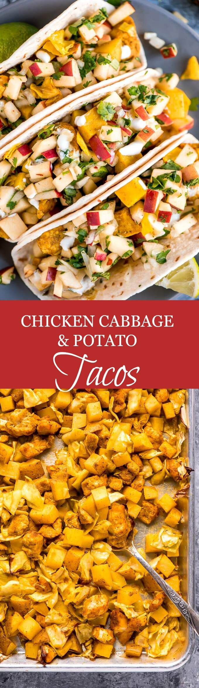 Chicken Cabbage Potato Tacos with Apple Apple Pico de Gallo is a simple and healthy dinner packed with flavor and texture that the whole family will love.