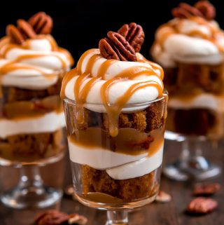 Mini Caramel Pecan Pumpkin Cheesecake Trifles