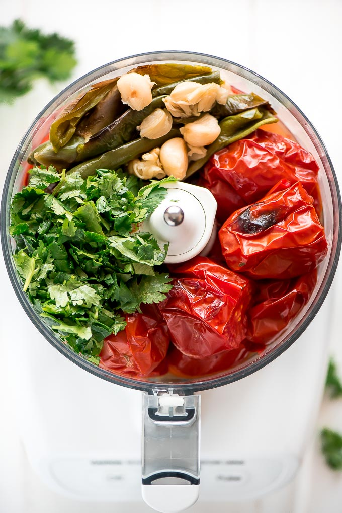 If there is one condiment that is worth making, it's Homemade Salsa. Just pop the veggies in the oven to roast and blend them up.