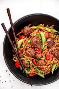 Get dinner on the table for a meal with your family meal in less than 30 minutes with this flavorful and nutritious Meatball Veggie Ramen.