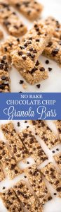 Make No Bake Chocolate Chip Granola Bars at home with just six ingredients to always have on hand for an afternoon snack or to throw in the kids lunch.