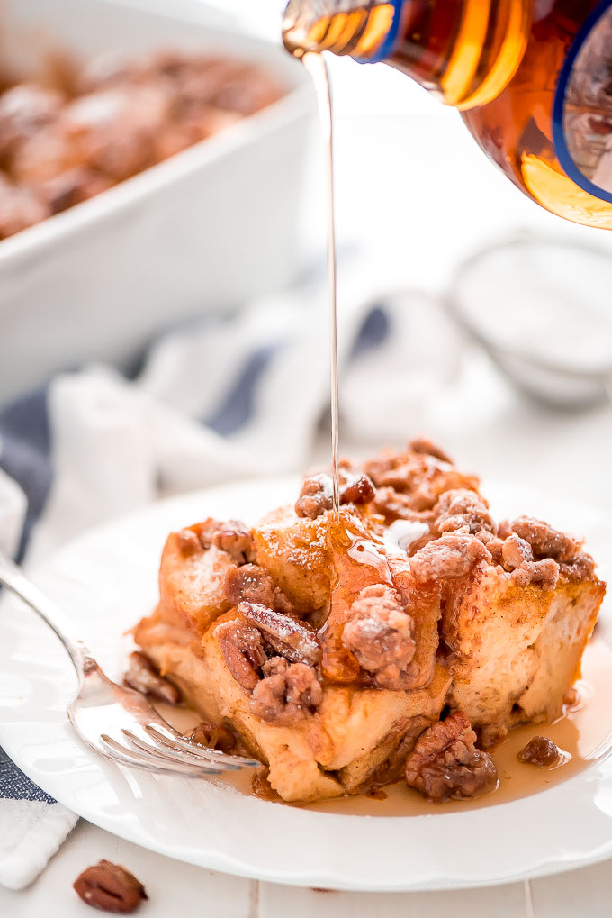 Prep this Pumpkin French Toast Casserole at night and wake up to enjoy a relaxing weekend morning with a delicious breakfast with the family.