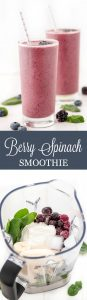 Berry Spinach Smoothie is a quick and healthy breakfast or snack that is loaded with fruit, spinach, and high protein Greek yogurt to keep you feeling full.