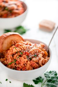 Stay within yourfood budget without sacrificing protein. ThisRed Lentil Mushroom Ragu is full of protein and fiber and packed with flavor.