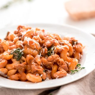 Enjoy the flavors of fall in this comforting, protein and fiber filled White Bean, Sausage, Pumpkin Pasta Bake. Pumpkin never tasted so creamy!