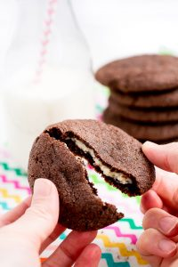 Cream Cheese Stuffed Cookies are a rich sugar-coated chocolate cookie with a surprise inside- sweet cream cheese filling!