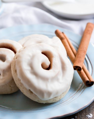 Enjoy your favorite breakfast for dessert with these Cinnamon Roll Cookies made with a soft sugar cookie, cinnamon and sugar rolled up inside, and glazed.