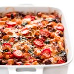 Prepare this Overnight Sweet Potato & Sausage Breakfast Casserole at night and wake up to a warm, delicious, and healthy breakfast the whole family will love!