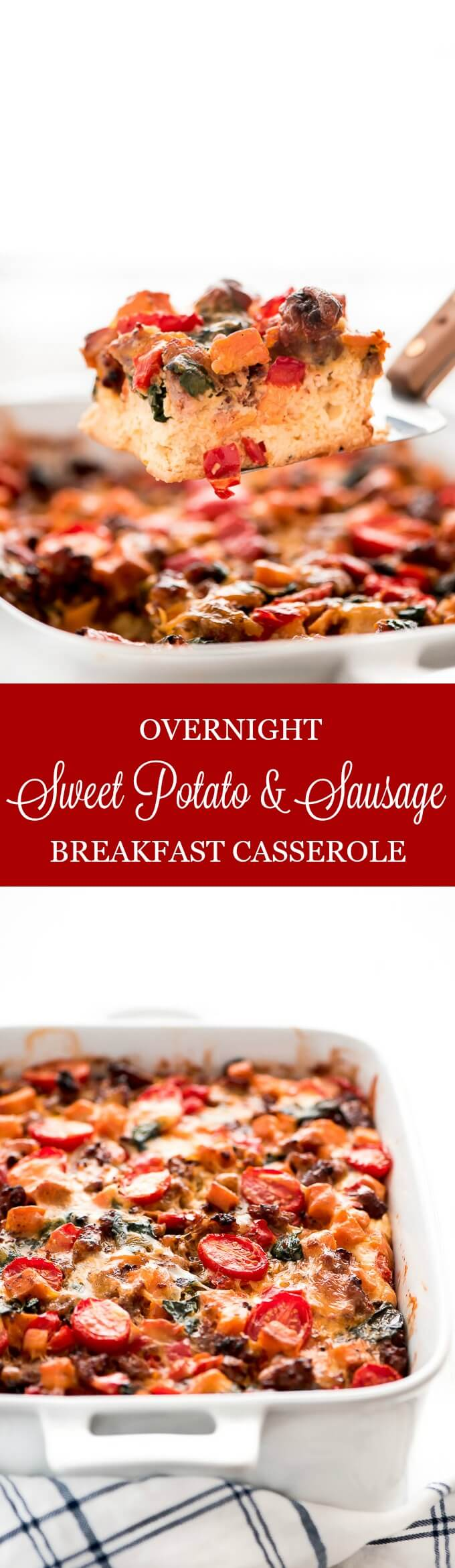 Prepare this <strong>Overnight Sweet Potato & Sausage Breakfast Casserole</strong> at night and wake up to a warm, delicious, and healthy breakfast the whole family will love!