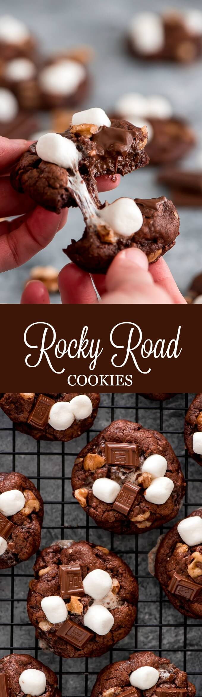 Rocky Road Cookies are a chocolate lover's dream! Loaded with melted chocolate, cocoa powder, and filled with chocolate chunks, marshmallows, and walnuts.