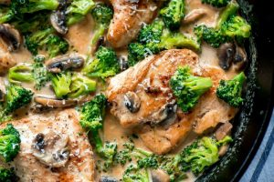 Horizontal top view of a skillet of cooked chicken and broccoli.
