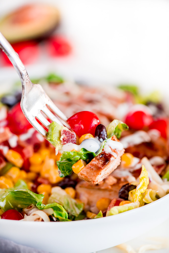 Close up of a fork full of BBQ Chicken Salad.