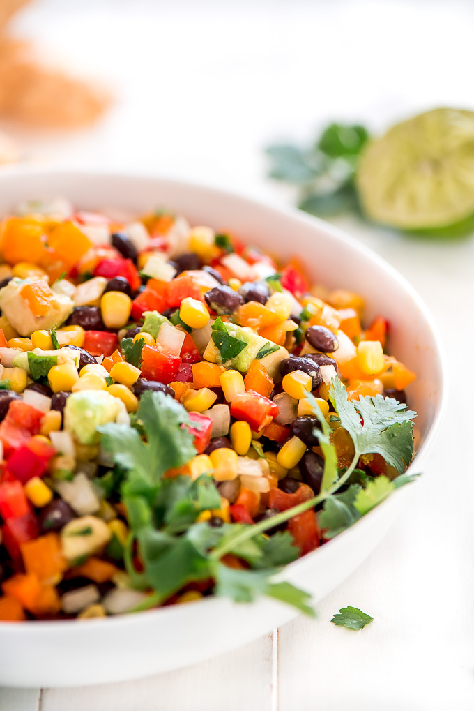 Multicolored Black Bean Corn Salsa Dip in a serving bowl.