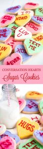 These Conversation Heart Sugar Cookies are a fun treat to make for Valentine's Day and even better to eat. With a super soft sour cream sugar cookie base and a smooth buttercream frosting, you're sure to fall in love!