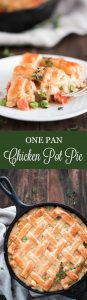 This super Easy Chicken Pot Pie is a comforting family favorite meal made easy by using only one skillet and topping off with a delicious flaky puff pastry crust. #easydinner #chickendinner #chickenrecipes #oneskilletchicken