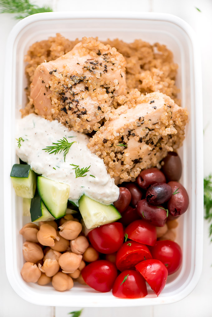 Top down view of a Instant Pot Meal Prep Greek Chicken Quinoa Bowl.