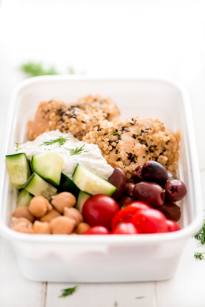 These Instant Pot Greek Chicken Quinoa Bowls are a refreshing healthy dinner that comes together quickly in the Instant Pot and can be assembled in advance for a grab-and-go meal.