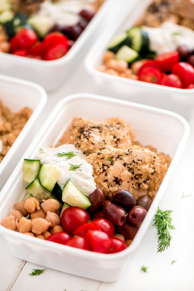 Close up view of Greek Chicken Quinoa Meal Prep Bowls.