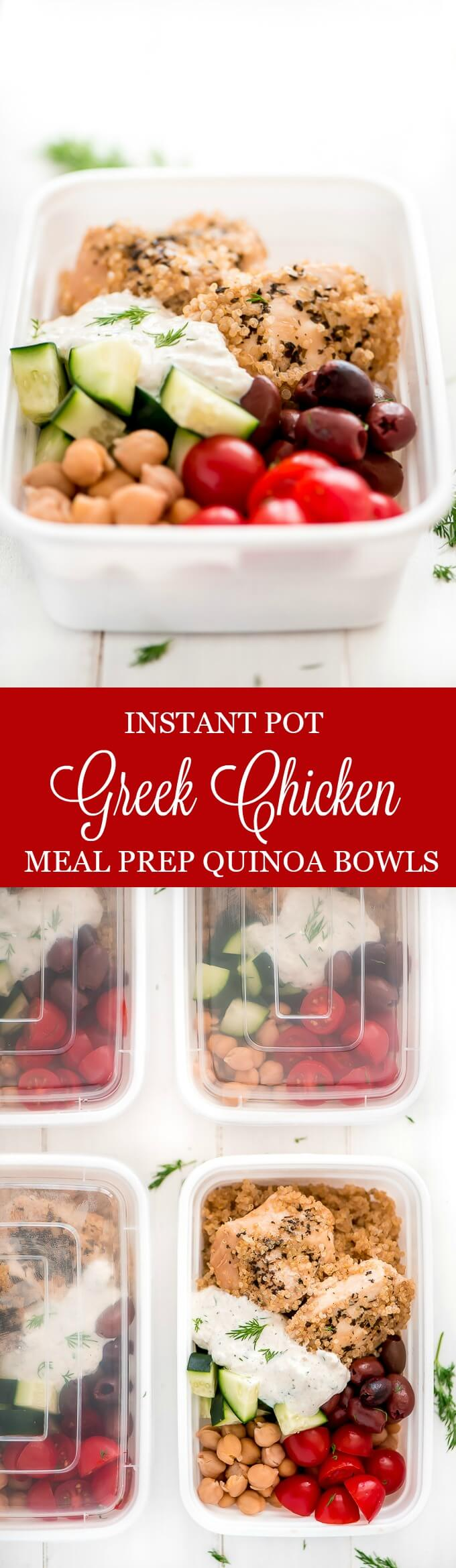 Greek Chicken Quinoa Bowls are a refreshing healthy dinner that comes together quickly in the Instant Pot and can be assembled in advance for a grab-and-go meal.
