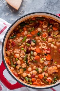 Large stock pot of Minestrone Soup.