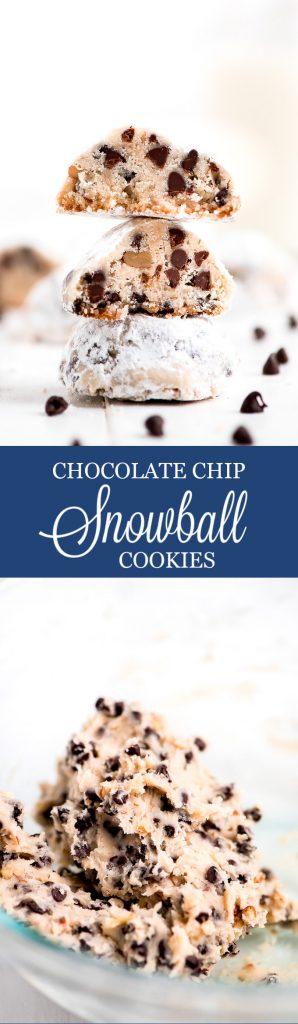 Chocolate Chip Snowball Cookies Garnish Glaze