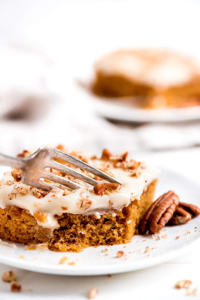 A piece of Pumpkin Sheet Cake topped with chopped pecans with a fork in it ready to take a bite.